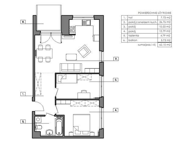 Mieszkanie w inwestycji Signum, budynek Budynek I, symbol B.5.4 » nportal.pl