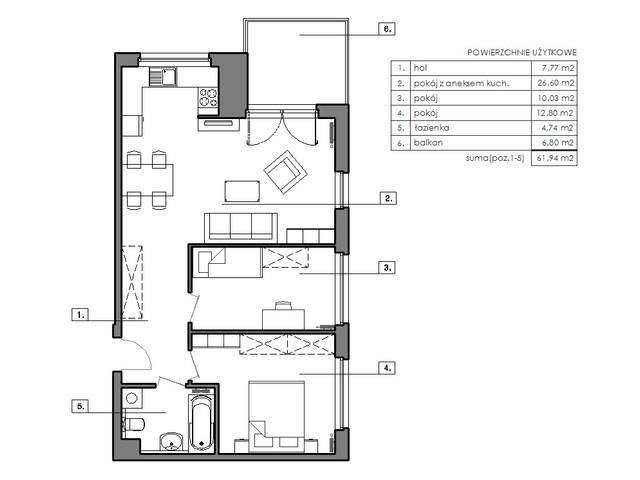 Mieszkanie w inwestycji Signum, budynek Budynek I, symbol B.7.4 » nportal.pl