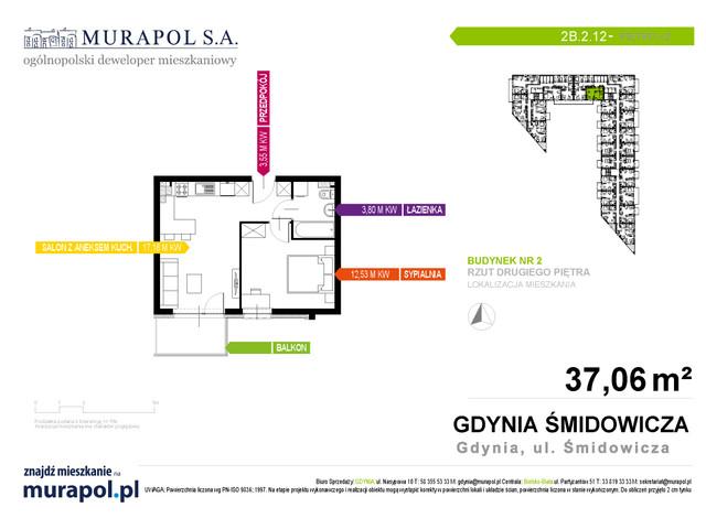 Mieszkanie w inwestycji Murapol Nadmorskie Tarasy, budynek Budynek 2, symbol 2B.2.12 » nportal.pl