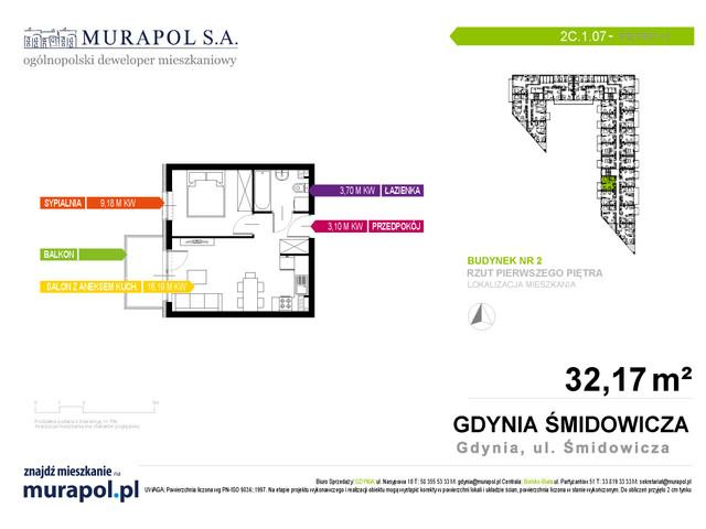 Mieszkanie w inwestycji Murapol Nadmorskie Tarasy, budynek Budynek 2, symbol 2C.1.07 » nportal.pl