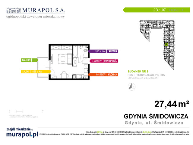 Mieszkanie w inwestycji Murapol Nadmorskie Tarasy, budynek Budynek 2, symbol 2B.1.07 » nportal.pl