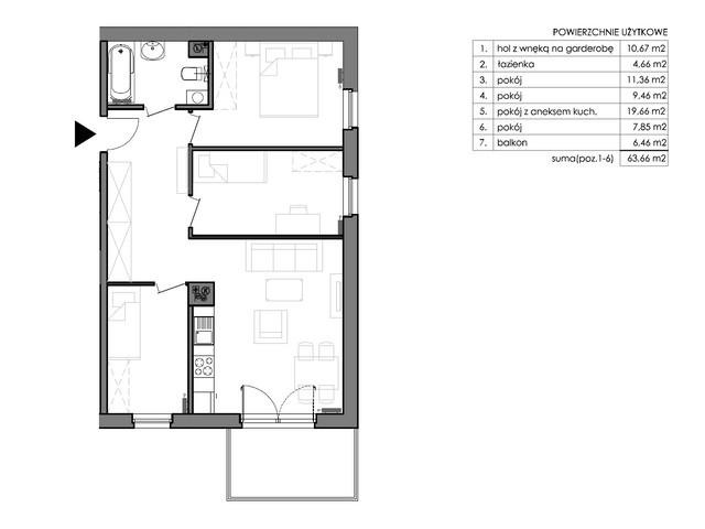 Mieszkanie w inwestycji Signum, budynek Budynek II – Stratus, symbol C.1.1 » nportal.pl